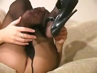 Hot Black Pantyhose Tease