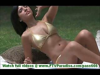 Annalisa Sexy Amazon With Gorgeous Body In Bikinis Sunbathing And Toying Pussy Outdoors