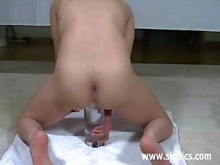 Gigantic Glass Dildo Fucked In Her Cavernous Cunt