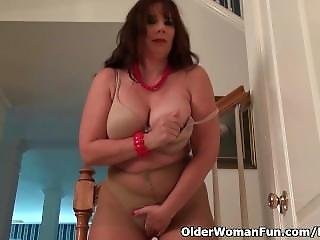 Gros Téton, Brunette, Masturbation, Mature, Milf, Collants, Bas Collants, Chatte
