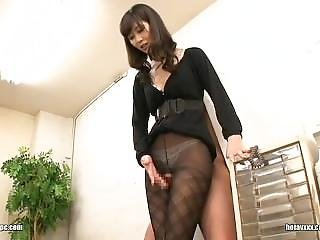 Tall Japanese Rubs Dick Between Her Thighs