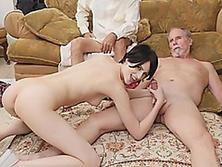 Two Dirty Old Men Perverts Banging Cute Tight Teen Pussy