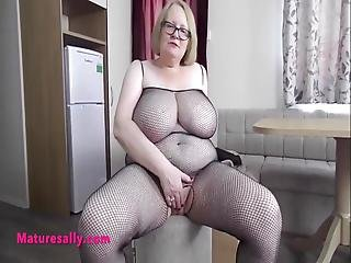 Big Boobs And Belly Granny Masturbates In Fishnet
