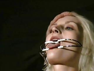 Slim Blond Slave In A Chair