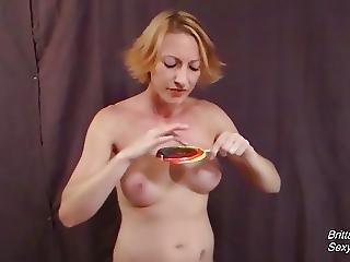 Pov Cum Play And Cum Licking Off Big Lollipop By Hot Blonde