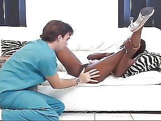 Beautiful Ebony Ladies Fucks A Lucky White Guy