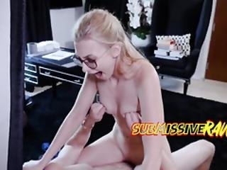 Geeky And Submissive Blonde Is Having Rough Sex After Giving Deepthroat Blowjob