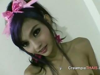 asiatique, bonasse, pipe, brunette, crème, serrée, réalité, sexy, petits seins, Ados, thailandaise