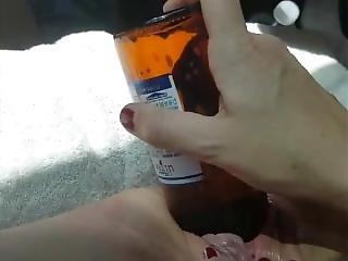 amateur, cerveza, botella, masturbación