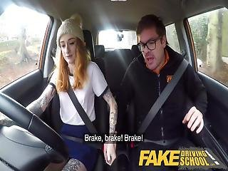Fake Driving School Slim Hot Redhead Minx Fucks Better