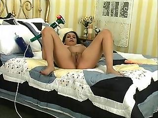 Brunette Babe Fingers Her Tight Pussy On A Couch