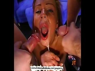 Sexy Babe Gets On Her Knees Getting Cum Covered Extreme Bukkake