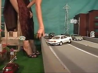 Giantess Asian In Dress And Heels Crushing City And Playing With Vehicles