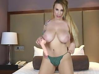 Milf With Huge Natural Breasts Bounces On Dildo
