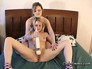The Girls Experiment With The Wand Vibrator
