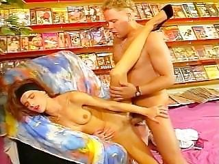 Skinny Bitch Fucks In A Video Store