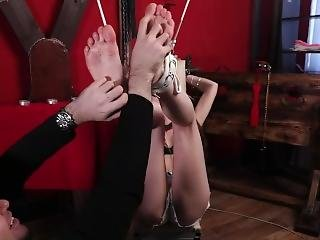 Pigtailed Teen Has Feet Tied High And Tickled