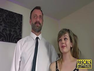 Real Busty Submissive In Stockings Gets Pussy Banged And Mouth Fucked