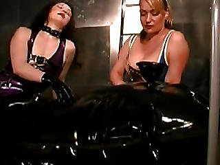 Girls Wrapped His Bitch In Latex