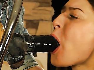 Pretty Girl Sucks Dildo And Gets Rubber Band Punishment