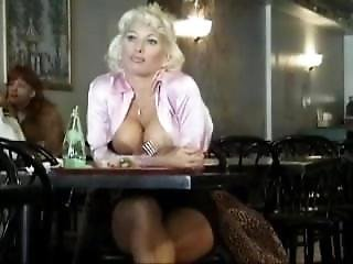 Blonde Exhibitionist In New York Restaurant
