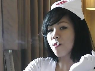 Filipino Nurse Smokes While Wearing Heels