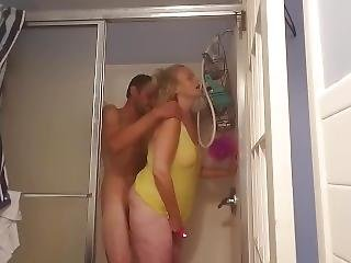 Hot Wife Fucks In Shower With Vibrator