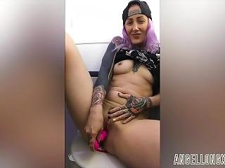 Wanking In The Airplane Toilet - Angel Long