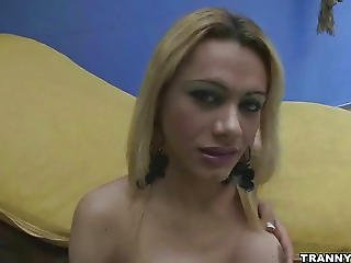 Big Breasted Blonde Shemale Babe Tugs On Her Cock