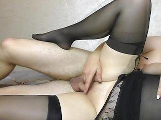 amatør, rompe, babe, stor rompe, stor pupp, svart, svarte strømper, onanering, orgasme, strømpe, Tenåring