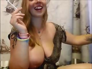 Huge Tits Slut Smoking & Jerk
