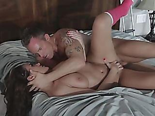 Incredibly Hot Brunette Lifts Leg And Receives Deep Penetration