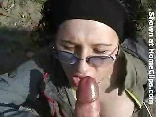 Hot Blonde Amateur In Black Wig Outdoor Bj & Facial