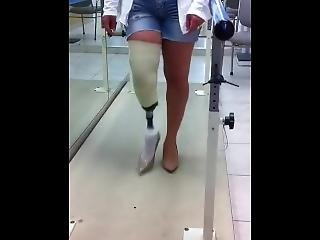 Lbk Amputee Bbw Walking With Heels