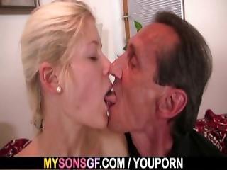 Old Man Seduces Blonde Teen Girl Into Riding