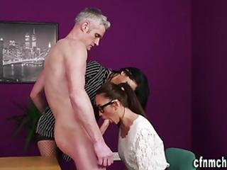 Busty Mistress Sucks Cock