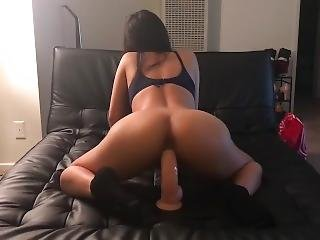 Asian With Tight Pussy Tries Huge Dildo First Time
