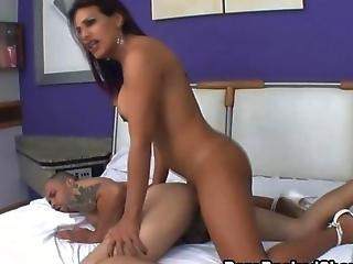 Big Tits Shemale Slut Gets Bareback Fucked