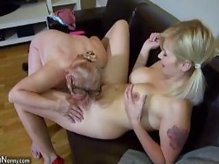 Young And Old Lesbian Couple Masturbate With Sextoy