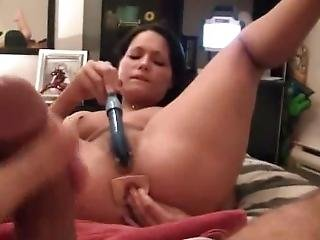 Jerking Off To His Gf And Fucking Her Up The Ass