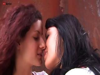 Eroberlin Lesbian Teens Outdoor Catsuit Pussy Licking Kiss