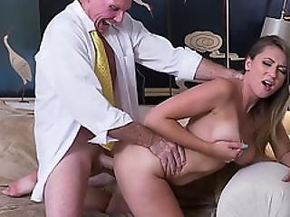 Busty Brunette Ivy Rose Bangs An Old Mans Dick