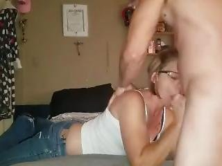 Sexy Milf Giving A Blowjob Before Work