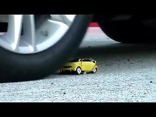 Little Car Ran Over By Big Car With Interior Shot