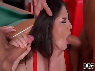 Horny Teen Francesca Dicaprio Dp Ed On Pool Table