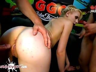Skinny Super Whore Ashlee Cox Shared And Glazed - German Goo Girls