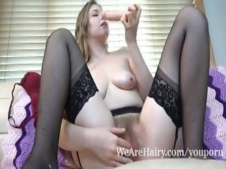 Apricot Pitts Masturbates On Her Leather Couch