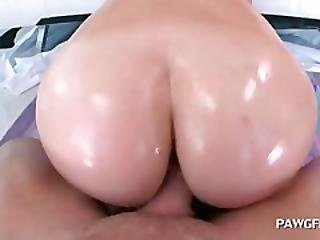 Redhead Flaunting Big Butt And Giving Bj