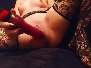 Wearing Stockings And Using 2 Of My Dildos In My Wet Pussy. Dripping Cum.