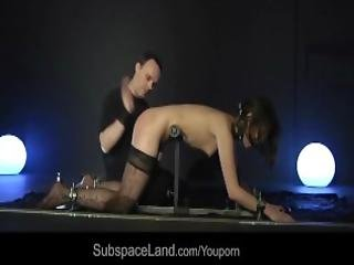 Petite Bondage Slave Punished Tied Up Performs Deepthroat Cum Swallowing